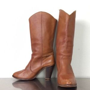 Vintage Brown Leather Kinney Boots with Heel